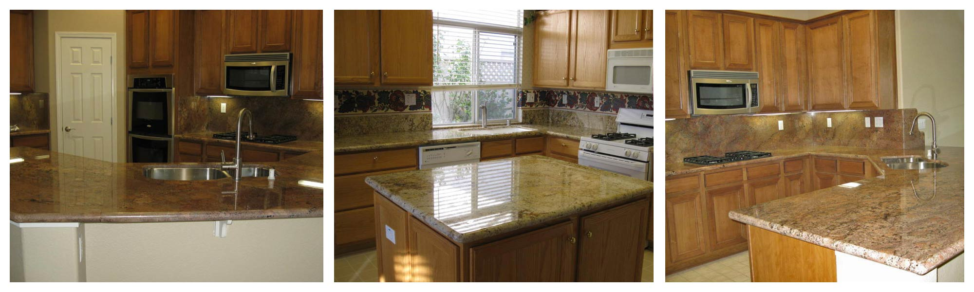Kitchen Cabinet and Tile and Granite and Countertop of Laminated wood